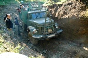 Our truck, and a very, very deeply entrenched track. Georgia.