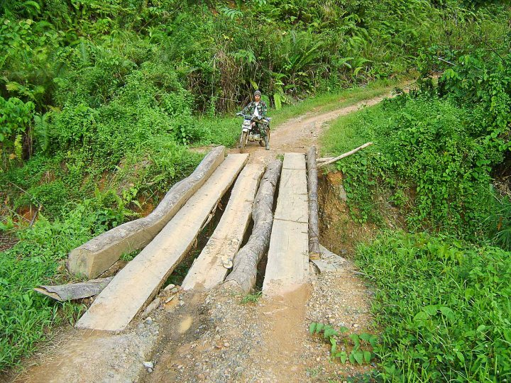 Bridges cobbled together from the refuse of logging. Kalimantan, Indonesia.